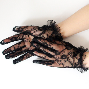 Sexy Wrist Length Women Lace Bride Gloves Black Lace Hand Gloves Mittens for Party Sun Protection Accessories Driving Gloves(China)