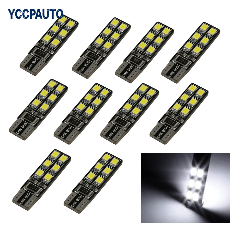 T10 W5W 194 168 2825 Car LED Light CANBUS NO ERRO 12 Leds 3528 SMD White Red Ice Blue Lights Bulb Lamp 10PCS For Car 0 9m smd 3528 90 leds waterproof led rope light festival lighting