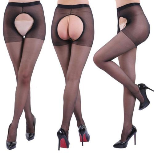 1 Pair Sexy Women Spandex Autumn Winter Tights Open Crotch Crotchless Sheer Seamless Pantyhose Silk Stockings 4 Colors