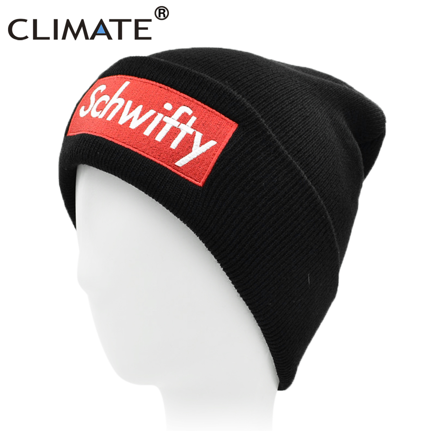 66f9642215d CLIMATE Beanie Rick and Morty Hat SCHWIFTY Logo Winter Beanie Skullies Men  Women Warm Knit Black Hat Caps for Men Women Youth