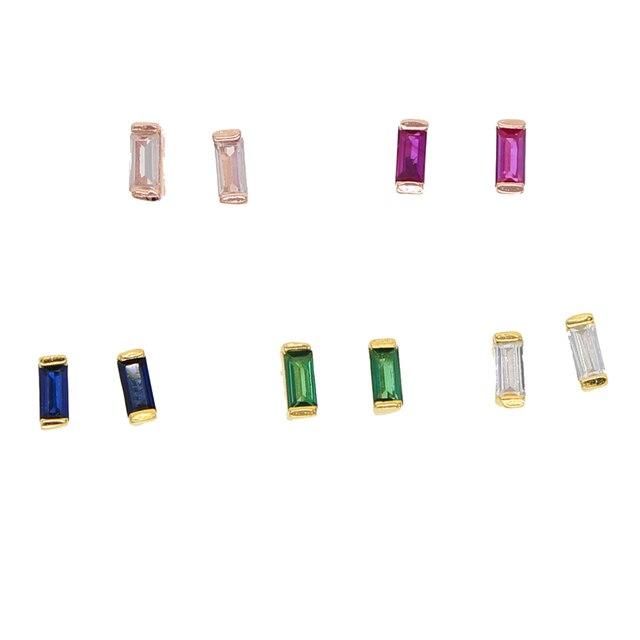 4931da303 925 sterling silver jewelry earring wholesale minimal simple single stone  design mini baguette cz stud earrings