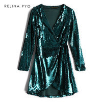 REJINAPYO Women Vintage Green Sequined Dress Female Deep V neck Sexy Dress Party Dress High Waist Ladies Elegant A line Dress