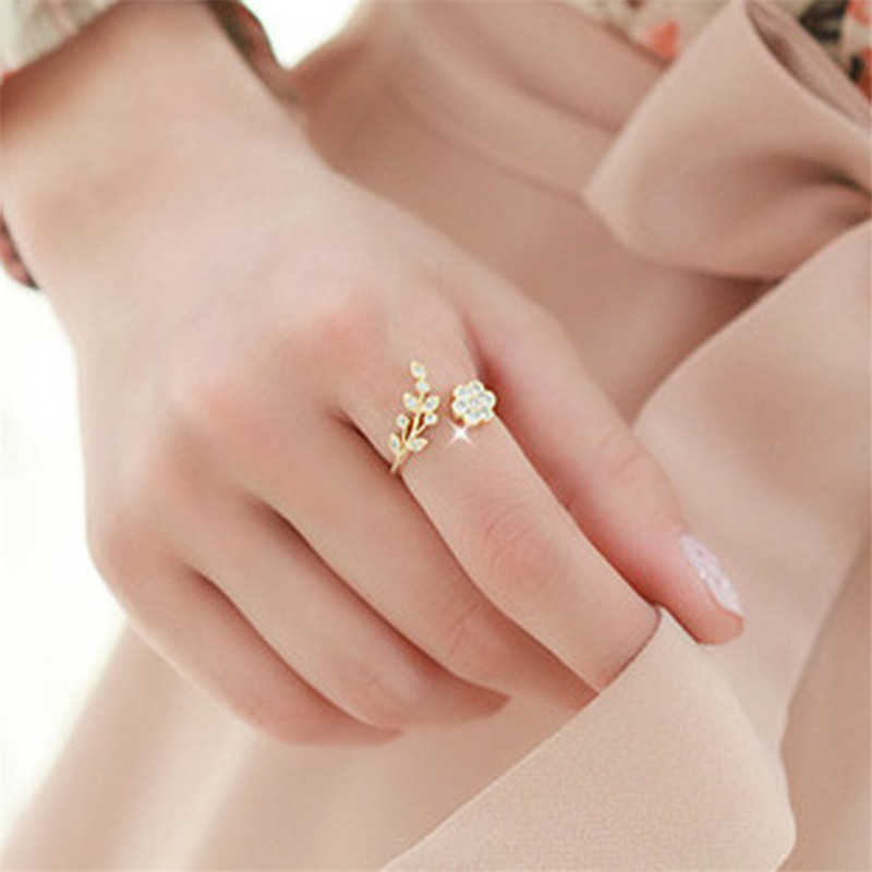 Rings Adjustable Leaf Crystal Opening Rose-Gold Silver-Plated Female Fashion Women Ladies