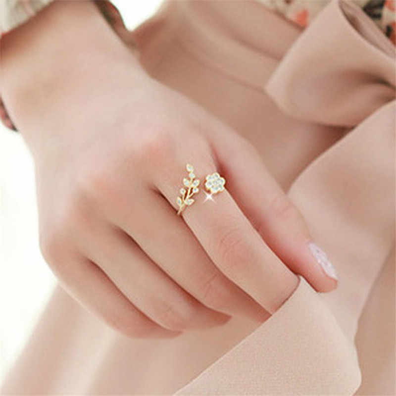 2018 Rose Gold Rings Adjustable Opening For Women Crystal Leaf Flowers Rings For Female Fashion Silver Plated Rings For Ladies