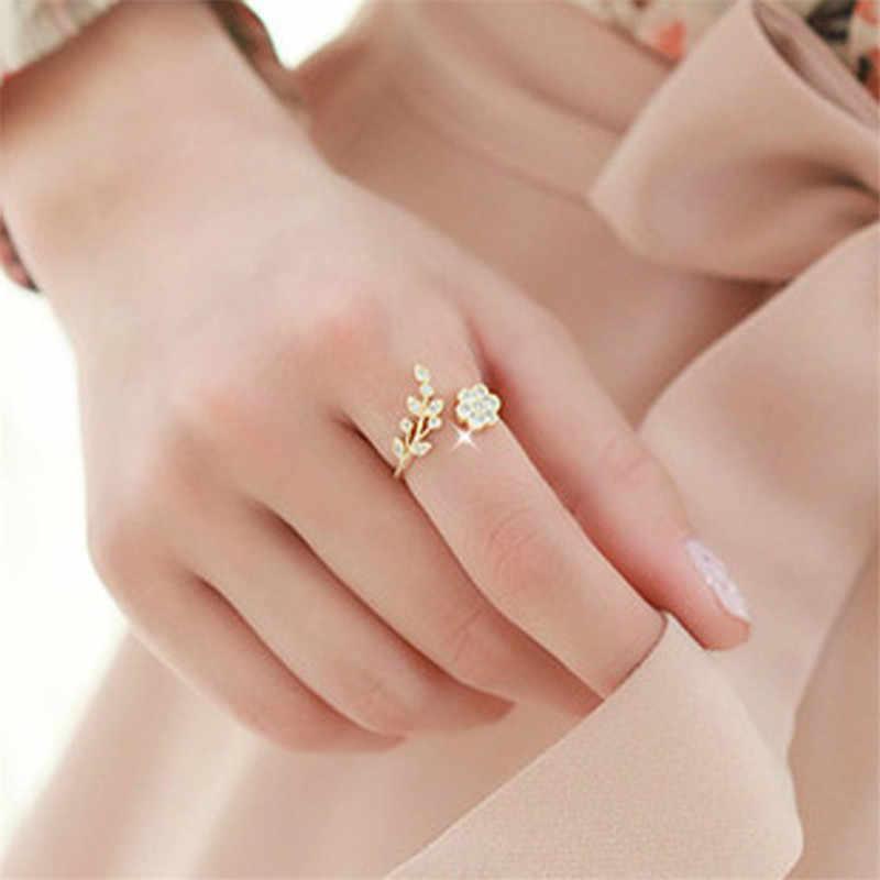 2018 Rose Gold แหวนเปิดปรับได้สำหรับผู้หญิงคริสตัล Leaf แหวนดอกไม้สำหรับผู้หญิงแฟชั่นแหวนเงินสำหรับสุภาพสตรี