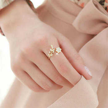 2020 Rose Gold Rings Adjustable Opening For Women Crystal Leaf Flowers Rings For Female Fashion Silvery Plated Rings For Ladies image