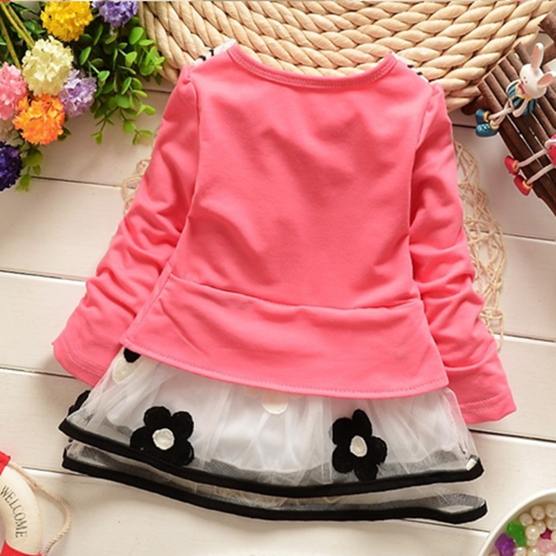 2017-Spring-and-summer-new-baby-girls-t-shirt-dress-fake-two-sweet-and-cute-style-pinkyellow-color-cotton-kids-clothes-dress-2
