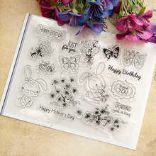 1 sheet DIY Happy Easter Design Transparent Clear Rubber Stamp Seal Paper Craft Scrapbooking Decoration