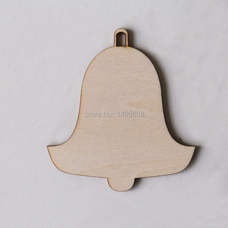 Wooden Bell Shape, Wedding Cristmas Decoration Art Projects Gift Tag CraftDecoupage Ornament