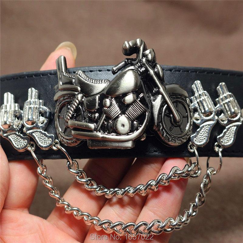 man promotion casual Punk style Bransoletka motocyklowa Retro skórzana duży pasek na guziki na rękę Lokomotywa party Odwróć zegarek