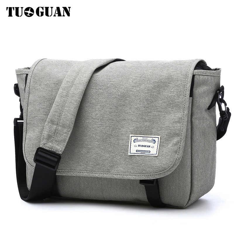 8a16f0bdb0b5 TUGUAN мужские сумки-мессенджеры мужские модные деловые дорожные сумки на  плечо женские парусиновые портфели мужские