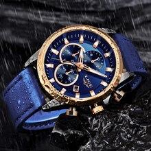 LIGE Blue Leather Chronograph LIGE9946