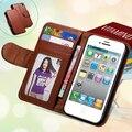 Para el iphone 4s caja de la carpeta casos de cuero del soporte ranura para tarjeta de moda para iphone 4 4s 4g marco de fotos cubierta del teléfono del tirón para el iphone 4s
