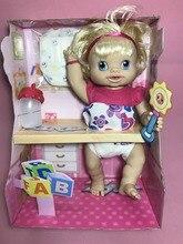 Moda simulação 35 cm Beber água, pentear o cabelo, pode fazer xixi e pode falar viva modelo boneca reborn baby dolls macio toy kids bebê