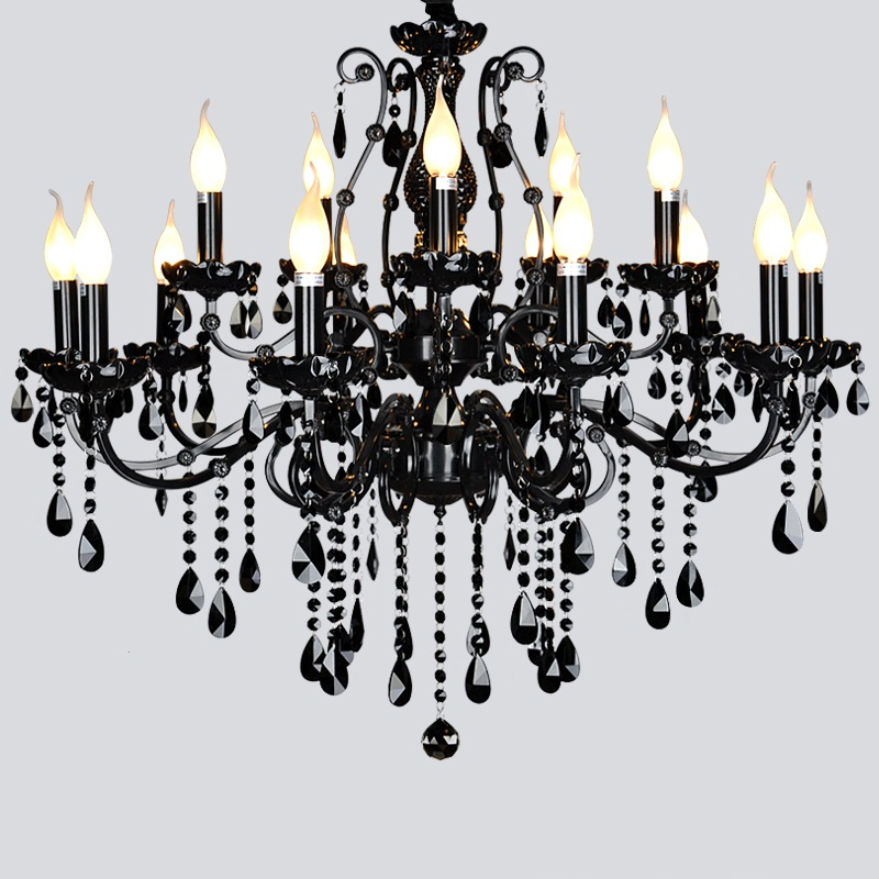 hot selling smoked k9 crystal chandelier lustre crystal chandeliers lustres de cristal chandelier e14 led ac lampshades included Luxury Black Crystal LED K9 Crystal Chandelier E14 LED Bulb Lustres De Cristal K9 Crystal Chandelier For Villa Shop Hotel Lamp