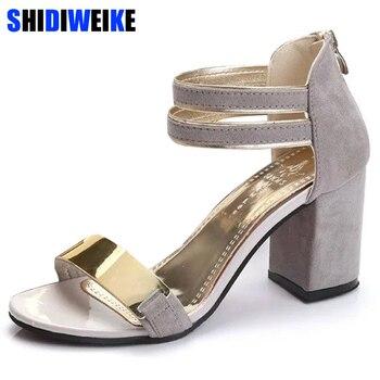 c38c8c8f230 Señoras tobillo-Wrap 2019 zapatos de verano Mujer Sandalias de tacón  cuadrado sandalias boda fiesta zapatos Bling sandalias de las señoras