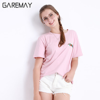 Top Tees Women Summer T Shirt Short Sleeve Floral Pattern O Neck Collar Letter Printed Tops