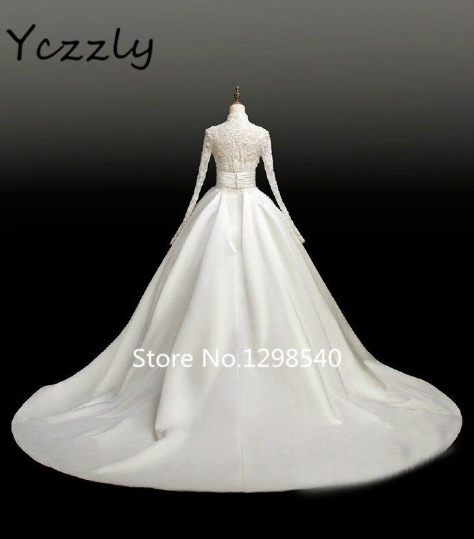 Vintage Wedding Dress Audrey Hepburn High Neck Long Sleeves Lace Beaded  Muslim Wedding Dresses Satin Bridal Gown RW283-in Wedding Dresses from ...