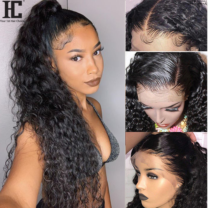 Brazilian Water Wave Lace Front Human Hair Wigs For Women Glueless 13x4 Lace Front Wig Pre Plucked Natural Hairline 150% Remy HC
