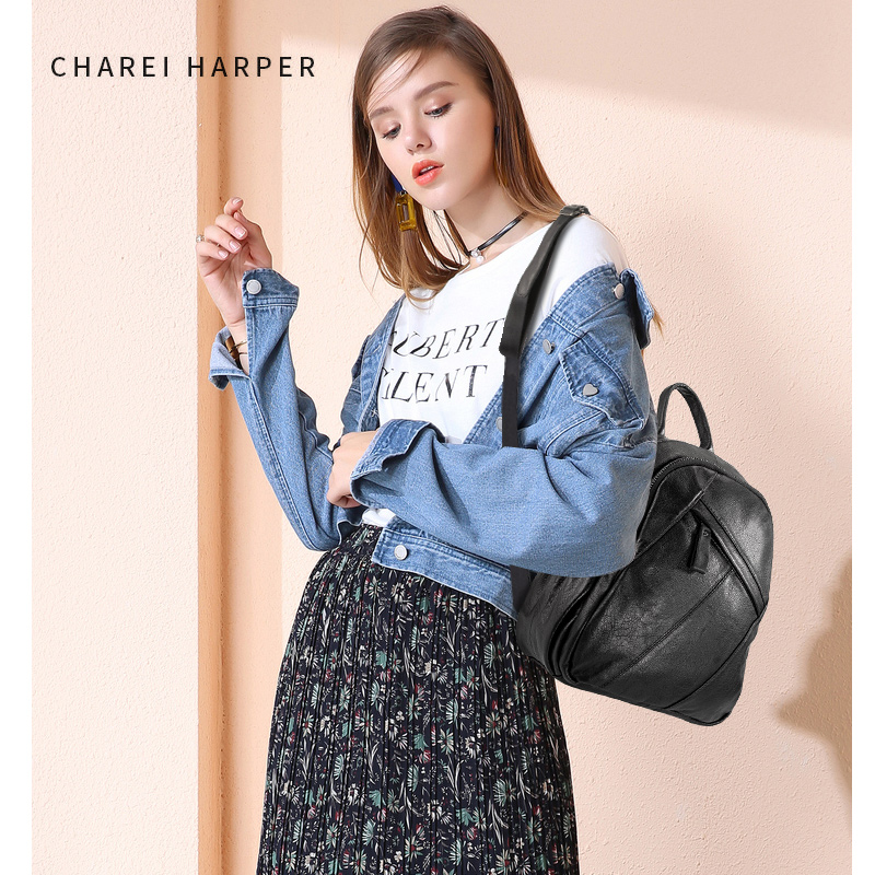 Leather stitching shoulder bag 2019 new pattern Leather Backpack Women Shoulder Fashion Large Capacity Anti-theftLeather stitching shoulder bag 2019 new pattern Leather Backpack Women Shoulder Fashion Large Capacity Anti-theft