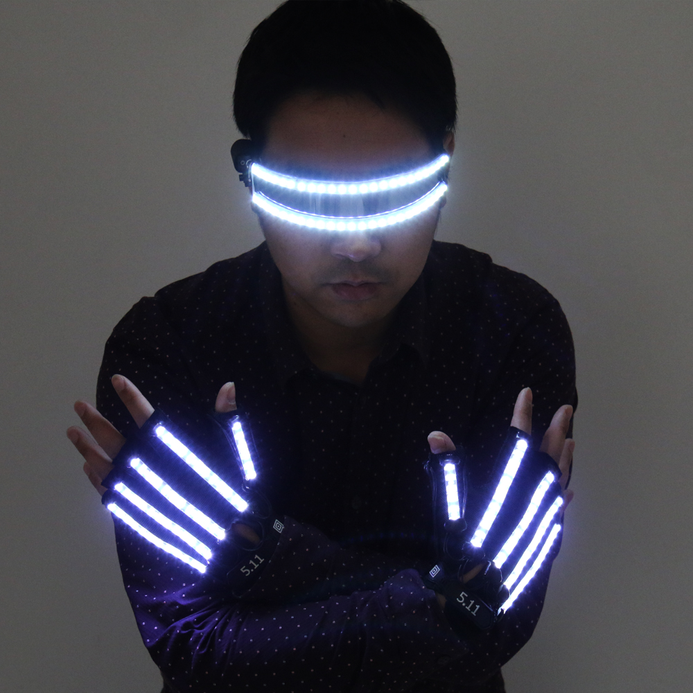 Bright LED Stage Costumes LED Gloves, Luminous LED Glasses , Laser Stage Props Party Supplies