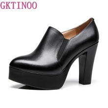 GKTINOO الفم العميق سميكة الكعوب مضخات النساء أحذية منصة 2019 أشار تو أحذية من الجلد امرأة عالية الكعب مكتب حذاء أسود