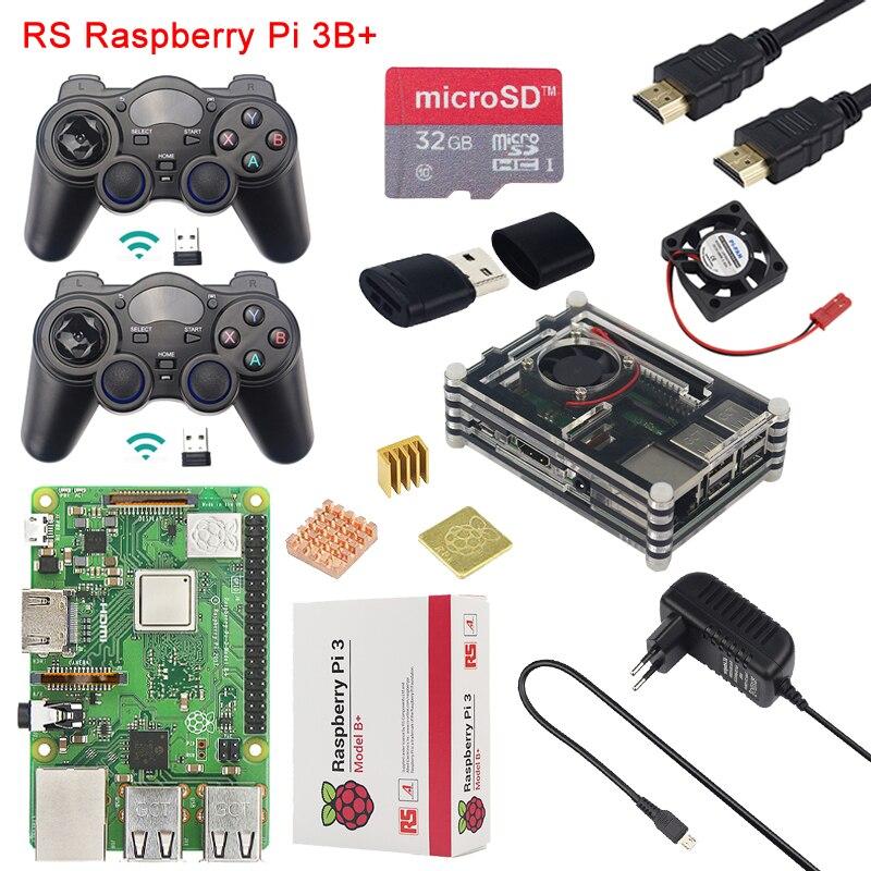 Raspberry Pi 3 modèle B + kit de jeu + contrôleur de jeu 2 pièces + boîtier + ventilateur + alimentation + carte SD 32G + lecteur de carte + câble HDMI + dissipateur de chaleur pour Retropie