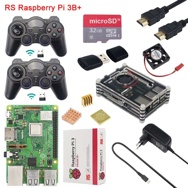 US $70 76 16% OFF|Raspberry Pi 3 Model B+ Gaming kit+2pcs Game  Controller+Case+Fan+Power+32G SD Card+Card Reader+HDMI Cable+Heat Sink for  Retropie-in
