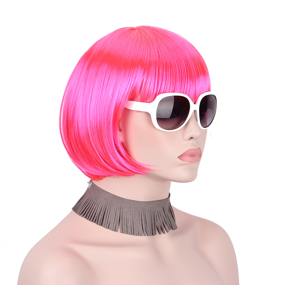 Anxin Short Bob Wig Synthetic Pink Red Wigs for Women With Bangs Bob HairsParty Cosplay Anime Halloween Costumes Cheap Price