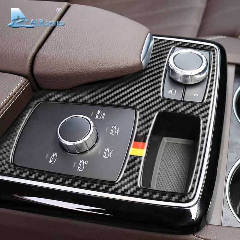 Vitesse pour Mercedes Benz GLE GLS M Classe Accessoires Carbone fibre Voiture Intérieur Accoudoir Multimédia panneau de contrôle Cover Version