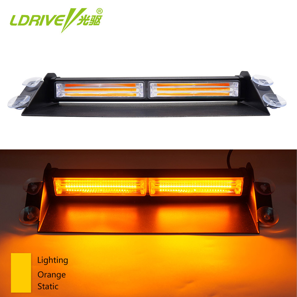 1PC 12V 24V LED COB Windshield Warning Light Car Flash Light Police Emergency Flasher Strobe Lamp Red Blue Orange Yellow