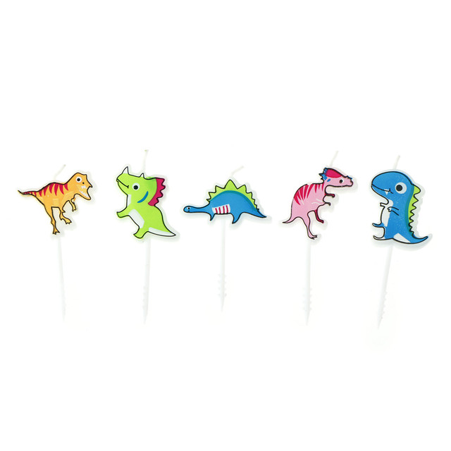 5pcs Pack Cute Cake Candles Dinosaur Decorations For Baby Shower Kids Birthday Party
