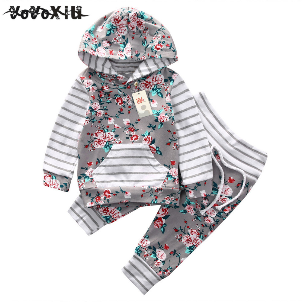 2018 New arrival girl & boys clothes set Adorable Newborn Baby Girls Floral Clothes Hooded Tops Pants Home Outfits Set