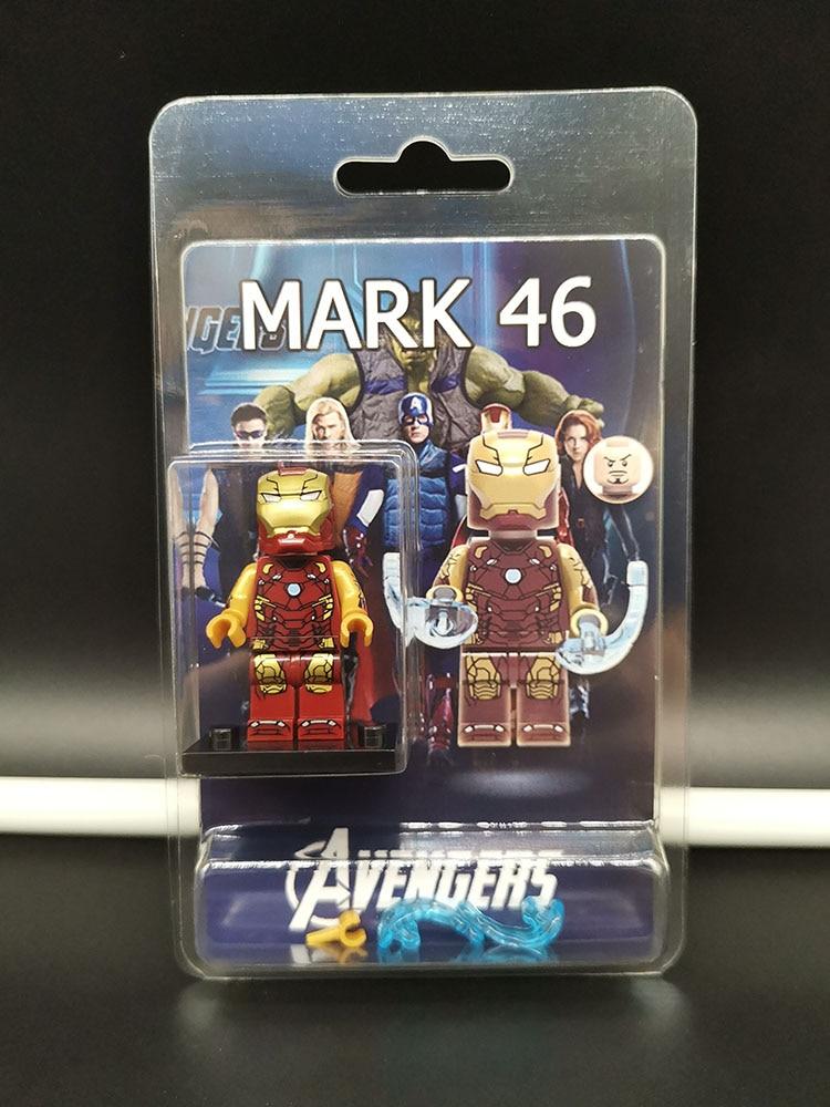Single Sale LegoINGlys Super Heroes  Avengers 4 Endgame Mini Figure IRON MAN MARK 46 Building Blocks Learning Boys Toys Gifts