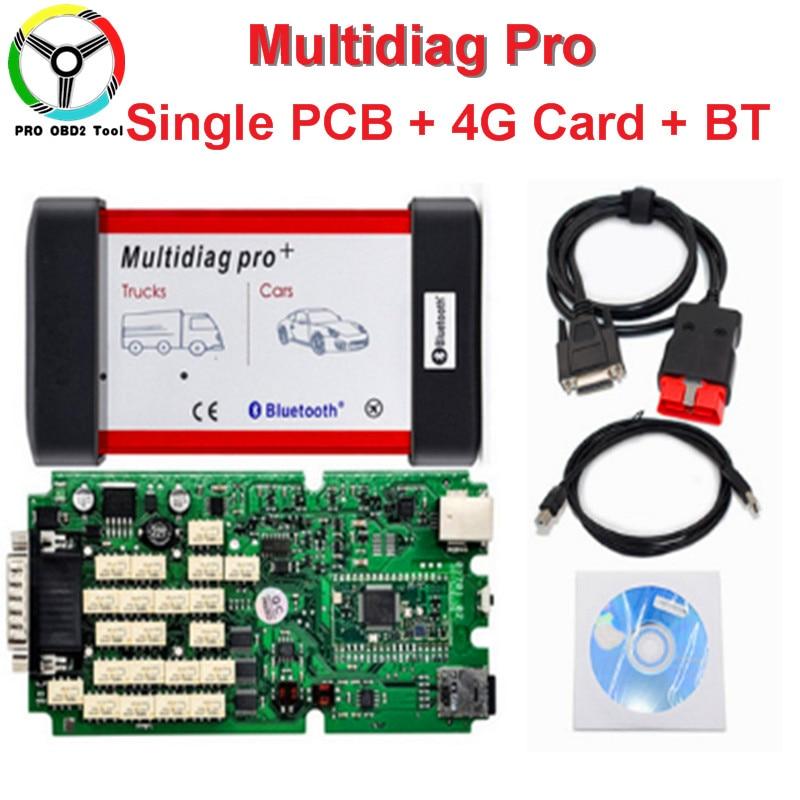 2018 Mais Recente Multidiag PRO Única Placa PCB Verde + 4G Cartão TF + Bluetooth TCS CDP PRO 2014. R2 Keygen Multi-Diag Frete Grátis