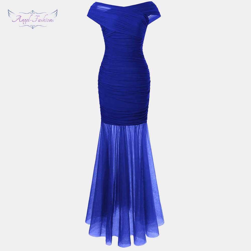 Angel-fashions Women's Pleated Prom Dresses Illusion Blue Party Gown 408
