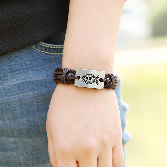Fashion Jewelry Jesus Fish Alloy Matched with Leather Rope and Vintage Genuine Leather Bracelet