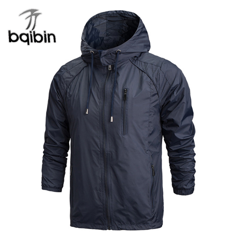 2019 Spring New Men Brand Clothing Sportswear Men Fashion Thin Windbreaker Jacket Zipper Coats Outwear Hooded Men Jacket 4XL