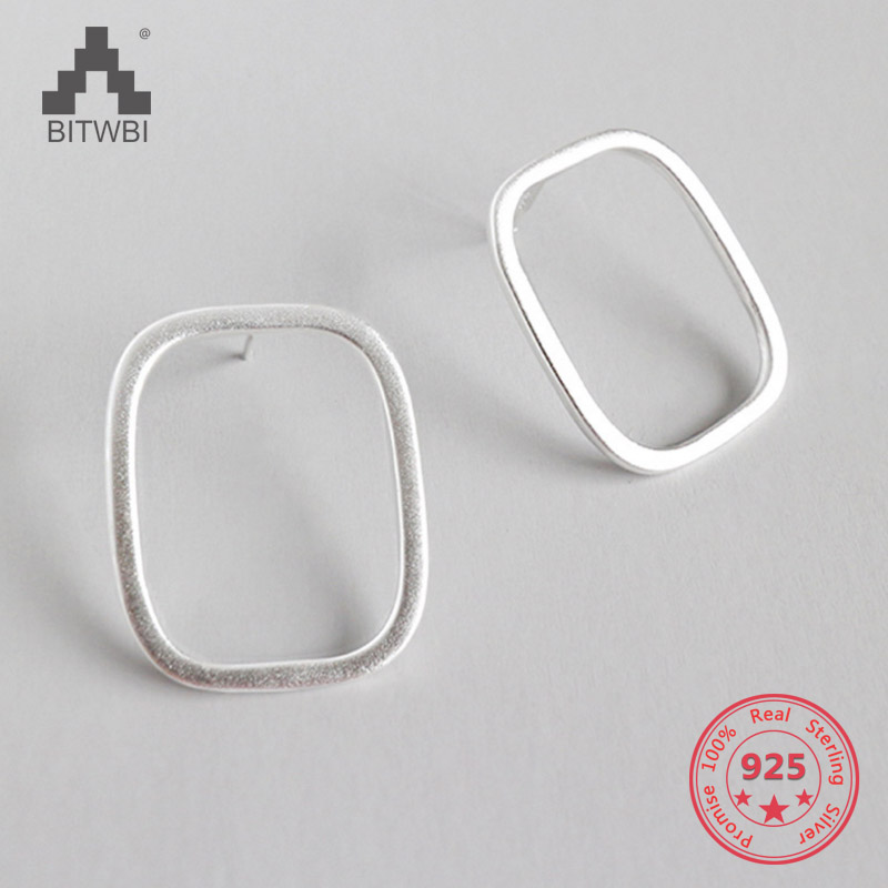 925 Sterling Silver Punk Rectangle Earrings For Women Fashion Jewelry Geometry Brincos925 Sterling Silver Punk Rectangle Earrings For Women Fashion Jewelry Geometry Brincos