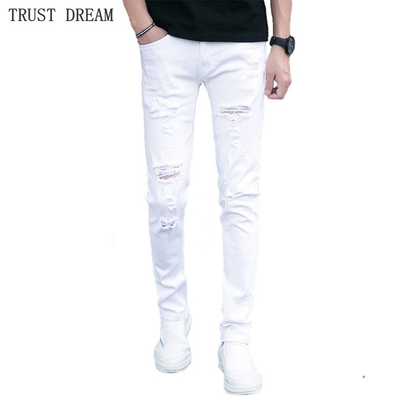 2019 New Man Skinny Jeans Slim White Ripped Holes Stretch Men Designer Denim Pants Male Sexy StreetWear Quatliy Amazing Trousers