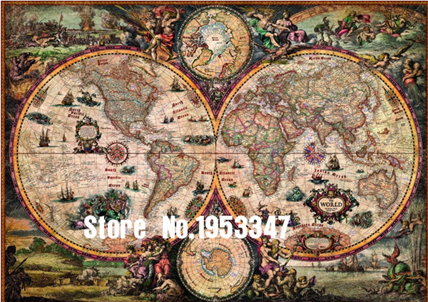 2017 Needlework,DIY DMC 14CT Cross stitch Kit, New World Map Pattern Embroidery Cross-stitch Painting Home Decor New