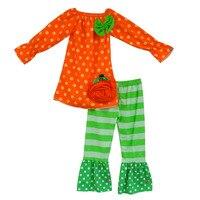 Yiwu Fabryka Cena Detaliczna Hurtownie Wiosna Jesień Tanie Boutique Outfit Halloween Dziewczynek Zestawy Odzieżowe Bawełniane H016