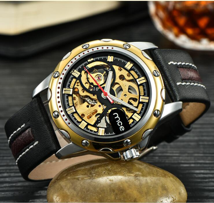 Men's Skeleton WristWatch Stainless steel Antique Steampunk Casual Automatic Skeleton Mechanical Watches Male Leather watch l цена 2017