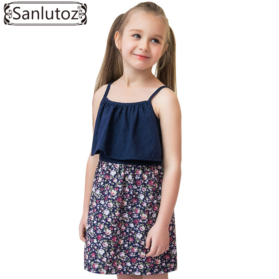 Sanlutoz Girl Summer Dress Flower Children Clothing Cotton Toddler 2017 Brand Cute Party Birthday Princess ноутбук hp 15 bw533ur amd a6 9220 15 6 1366x768 4 500hdd dvd rw amd radeon r4 win 10 home