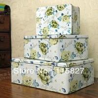 Free Shipping!3pcs/lot Belle Rose Design Tin Storage Box Multi use Case Candy Can Gift Iron box Metal Storage