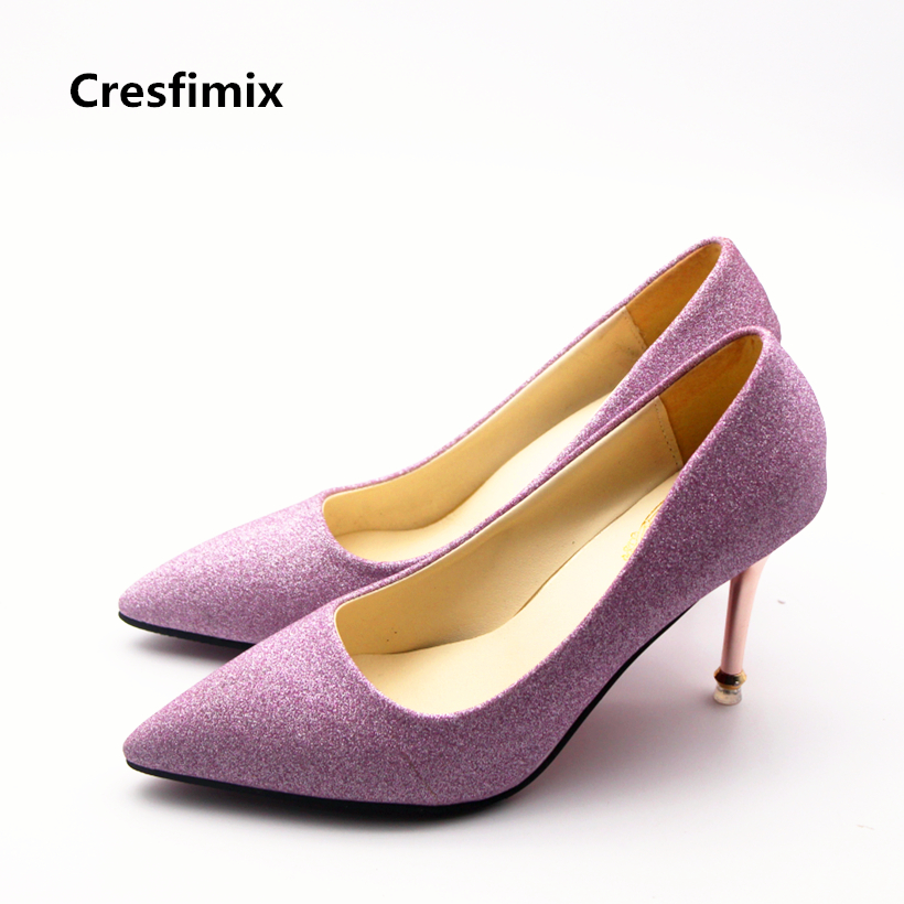 Cresfimix women sexy purple party 8cm high heel shoes lady cute spring wedding high heels zapatos de mujer female casual shoes cresfimix women casual breathable soft shoes female cute spring