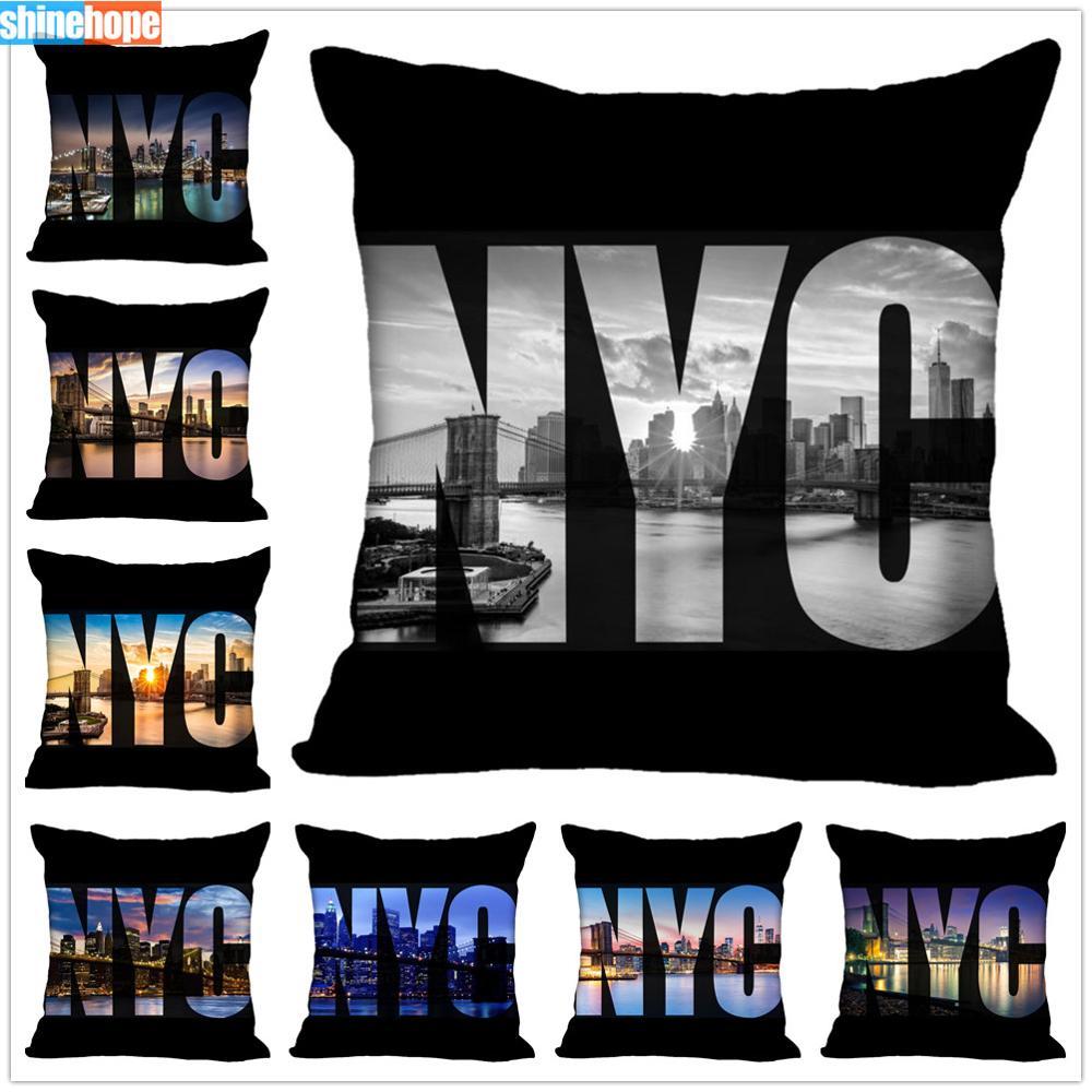 Custom New York Pillow Cases Brooklyn Bridge Square Pillowcase Christmas Zippered Pillow Cover 40*40cm,45*45cm(One Side)