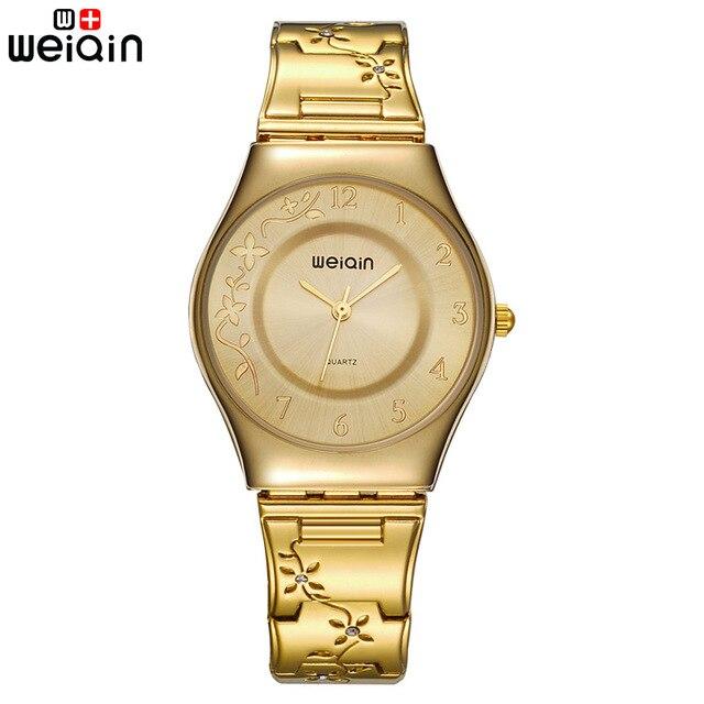 מותג נשים אופנה זהב יוקרה שמלת נירוסטה צמיד קוורץ שעון גבירותיי Ultra Slim 6mm פשוט יהלום אלגנטי שעה