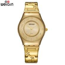 Marka kadın moda altın lüks elbise paslanmaz çelik bilezik quartz saat bayanlar Ultra ince 6mm basit elmas zarif saat