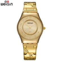 Marke Frauen Mode Gold Luxus Kleid Edelstahl Armband Quarzuhr Damen Ultra Dünne 6mm Einfache Diamant Elegante Stunde